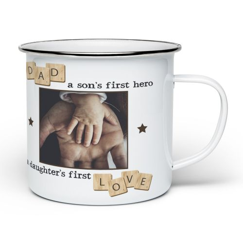 Personalised Dad, A Son's First Hero, A Daughter's First Love Novelty Enamel Mug - White